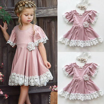 Princess Kids Baby Girl Dress Lace Floral Party Dress Gown Bridesmaid Dresses