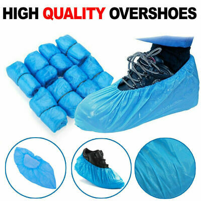 500 Disposable Shoe Cover Blue Plastic Anti Slip Cleaning Overshoes Boot Safety