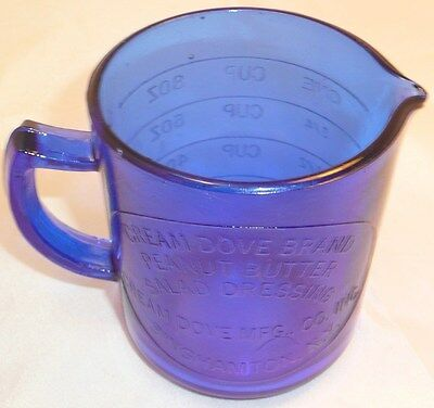 Deep Cobalt Blue Glass Measuring Cup~Cream Dove~1 C~New~Advertising~Ny~Food Safe