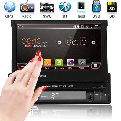 "Single 1DIN GPS Nav 7""HD Filp Up Touch Car Stereo Radio MP3 MP5 Player Bluetooth"