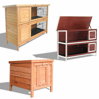 Wooden Rabbit Hutch Small Animal Pet House Yard Bunny Cage w/ Run & Tray 3 SIZE