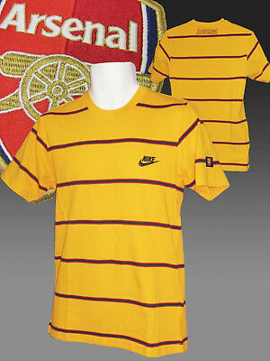 New Vintage Nike ARSENAL Football Club Graphic Cotton T Shirt Yellow Small