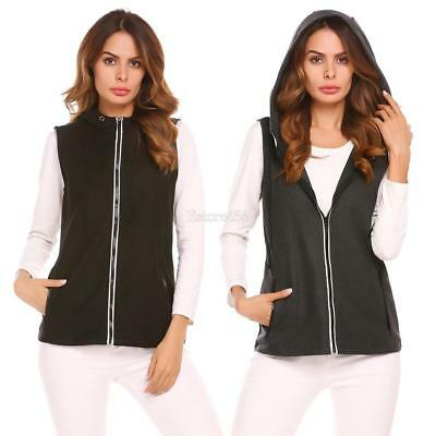Women Spring Autumn Casual Patchwork Zip Up Hooded Vests E456