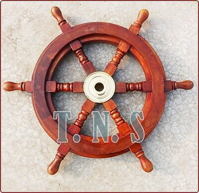 "Nautical Marine Vintage Rosewood Ship Wheel Wooden Brass Ring Wall Decor 18"" Dia"