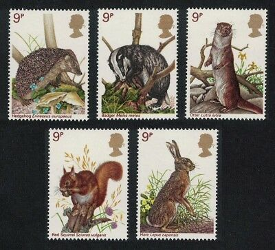 Great Britain Hedgehog Hare Squirrel Badger Otter Wildlife 5v SG#1039-1043