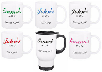 YOUR NAME ON A MUG personalised ceramic or travel mugs custom printed gift cup