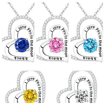 Double Heart Necklace Cubic Zirconia Swarovski Crystals Wife I Love You to Moon
