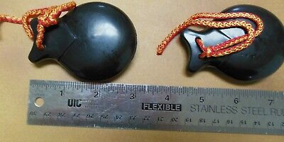 NWT Set of 2 (1 PAIR)  size 4  black plastic castanets Flamenco from Spain