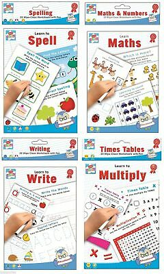 Educational Learning Wipe Clean Books Worksheets With Pen Boys Girls Children