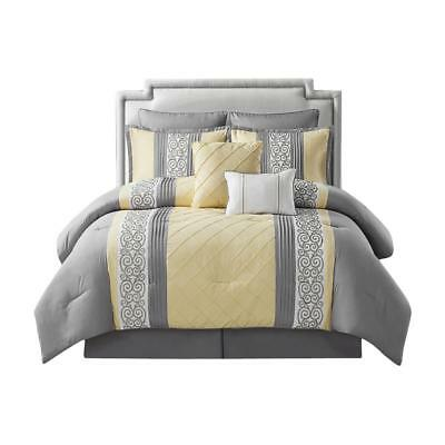 Scrolling Design 8 Piece Comforter Set Embroidery/Pleating Yellow King Size
