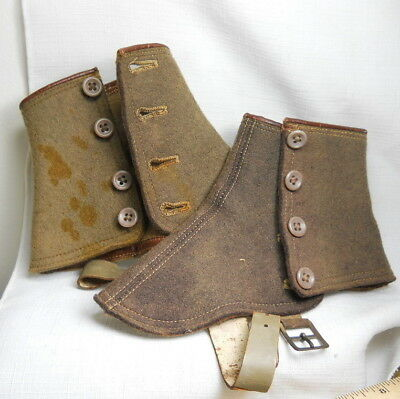 Genuine Antique Wool Felt Shoe Spats or Covers with Buttons and Buckles -1900