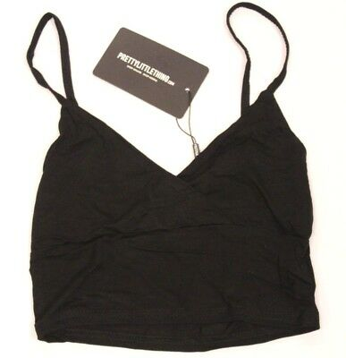 017d1af08e15f Pretty Little Thing Women s Basic Black Jersey Bralet Crop Top CB8 Size  US 6 NWT