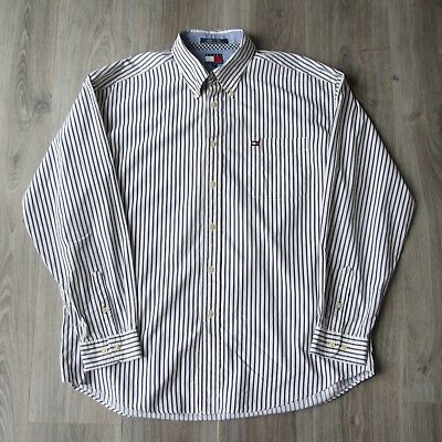 Vintage Mens Tommy Hilfiger Long Sleeve Button Down Oxford Shirt XL Striped