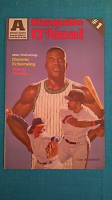 """SHAQUILLE  O'NEAL        """"ATHLETIC  COMICS  #1""""  w/ ECKERSLEY &  BARRY  BONDS"""