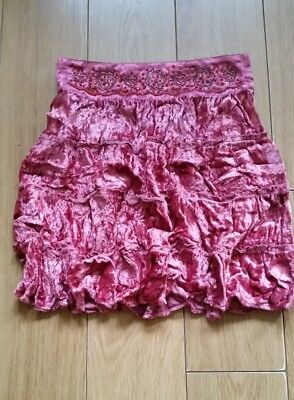Gorgeous Next Girls Pink Crinkle Velvet Floral Party Skirt Age 7 Years Boho