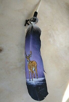 Hand painted feather ,  DEER    , ARTS & CRAFTS ,  SOUTHWEST ART , SIGNED