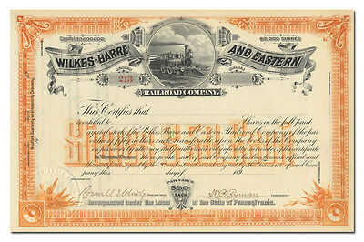 Wilkes-Barre and Eastern Railroad Company Stock Certificate