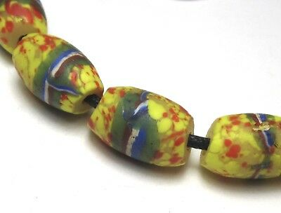 9 Rare Amazing Old Banded Yellow Speckled Oval Venetian Antique Beads