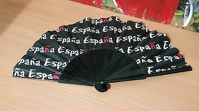Wooden Handheld Fan Black and white with White ESPANA from SPAIN
