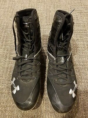 Under Armour Spine Compfit Mid MC Mens  Cleats in Black/Silver Size 12