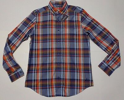 New NWT Mens Nautica Long Sleeve Button Up Sport Shirt S Small Madras Pattern