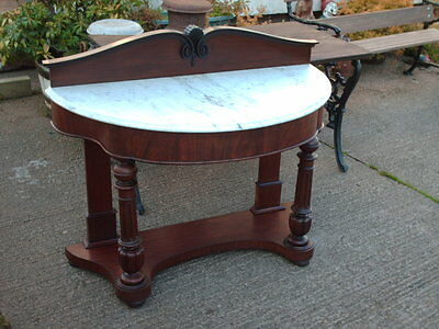 Victorian Mahogany And Marble Console / Hall Table