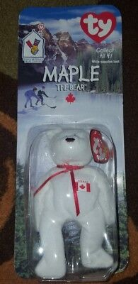 Maple The Bear-1996 McDonalds Ty Beanie Baby with rare tag errors brand new