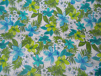 Paradise Flower Garden Blue Green 5 oz Linen Fabric NEW By The Yard