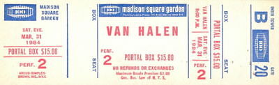 Van Halen 1984 Tour Unused Msg Concert Ticket / B20 / David Lee Roth / Eddie