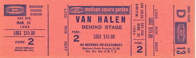 Van Halen 1984 Tour Unused Msg Concert Ticket / D13  / David Lee Roth / Eddie