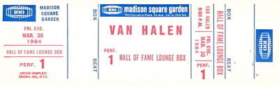 Van Halen 1984 Tour Unused Msg Concert Hall Of Fame Box Ticket / David Lee Roth