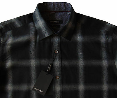 Men's BUGATCHI Black Gray Plaid Flannel Shirt Large L NWT NEW Classic Fit