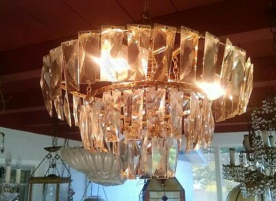 Vintage 50s Hollywood Regensy Brass & Crystal Ceiling Chandelier Light fixture