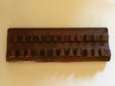 Double Row Ammo Belt Side Brown Leather Holds 24 Bullets Cartridge Vintage