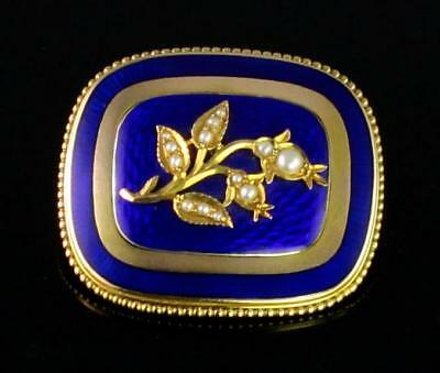 Antique Victorian 9Ct Gold ,Pearl And  Blue Guilloche Enamel Brooch c 1890's