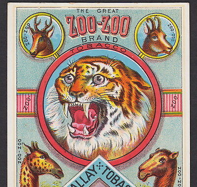 Zoo-Zoo Brand 19th Century Tobacco Card Circus Tiger Wilson McCallay Ohio Monkey