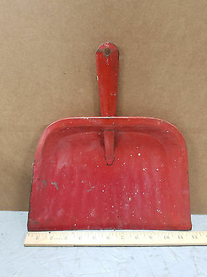 "Vintage Metal DUST PAN  Distressed 12"" Antique Red Industrial Shop Kitchen"