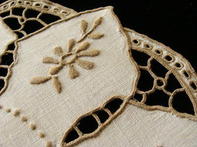INCREDIBLE 12pc Vtg MADEIRA Linen Placemats Dessert Tea Doilies PRISTINE Cutwork