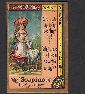 Artistic Design 1800s Mary had a Little Lamb Rhyme Soapine Soap Advertising Card