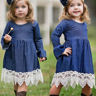 AU Newborn Girl Denim Lace Clothes Dresses Formal Party Weeding Costume Ruffles