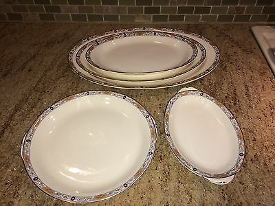 Antique 1929 Homer Laughlin China 5 Serving Dish Platters K4315M  UNKNOWN NAME