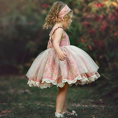 Flower Girl Dress Baby Lace Flower Tulle Party Bridesmaid Dress Outfits US Stock