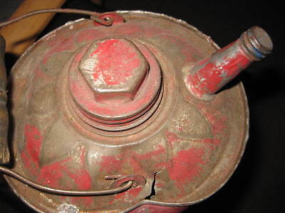 Mw.2: Antique Red Painted Galvanized Gas Can - Shows Much Wear - Great Old Item