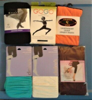 Wholesale lot 6 new tights, assorted colors and sizes
