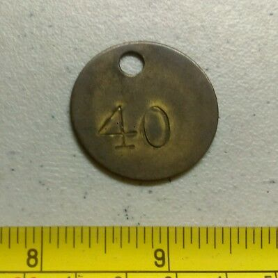 Vintage Number 40 Round Brass Tag