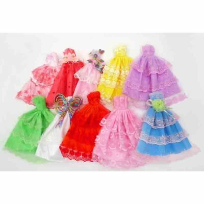 10Pcs Handmade Short Dress Wedding Party Gown Fashion Clothes For Barbie Doll