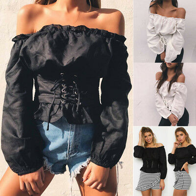 Women Sexy Off Shoulder Lace-up Tops Lady Corset Long Sleeve Loose Casual Blouse