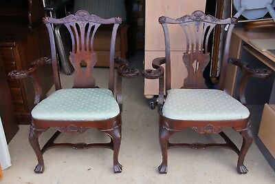 Pair of Antique Chippendale Late Baroque Rococo Style Carved Mahogany Chairs