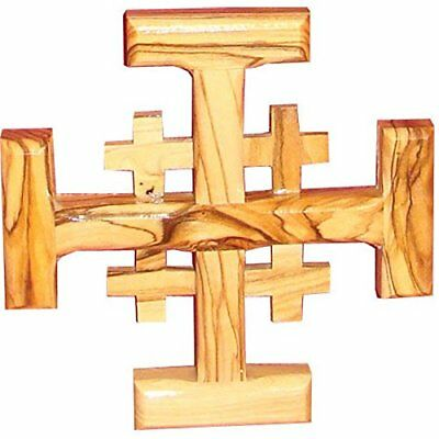 Zuluf Small Jerusalem Hand Carved Olive Wood Cross From Holy Land - CRS017
