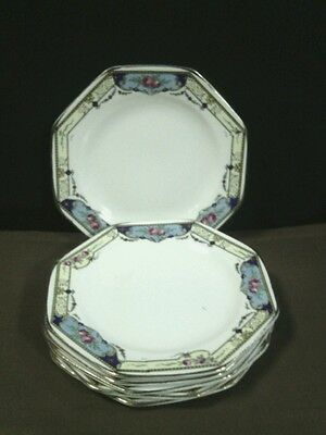 (6) Antique Crown Ducal Ware Octagon Hand Painted Floral Border Saucers,England